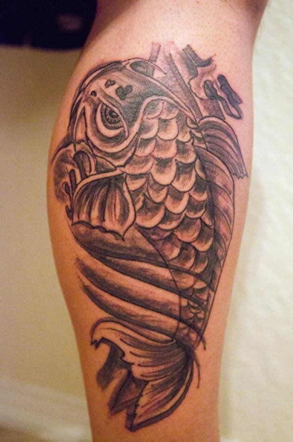 Koi fish tattoo on leg for Fish vagina tattoo