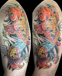 Full color koi fish tattoo